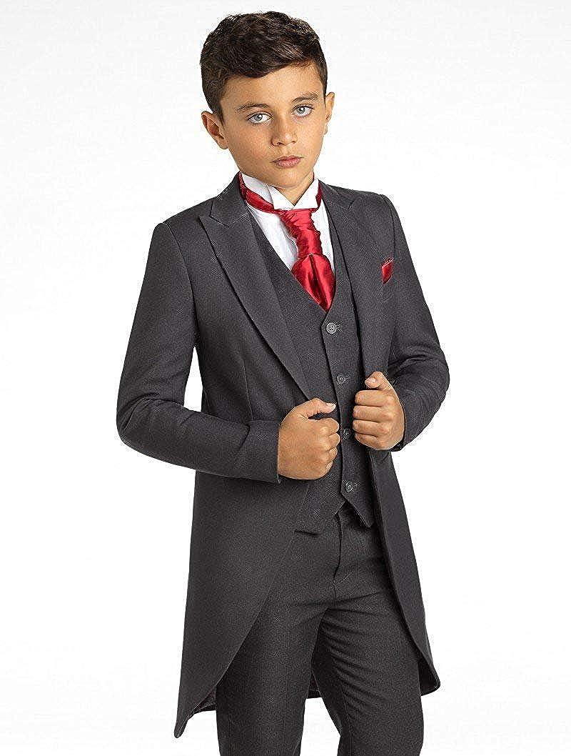 SHENLINQIJ Boys Black Classic Tuxedo Dress Suit with Tail 3 Pieces Jackets Vest and Pants