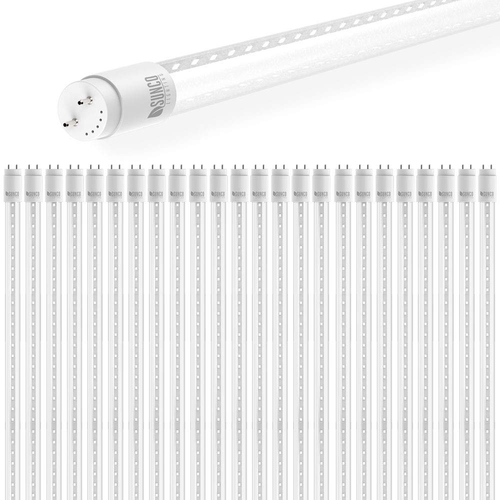 Sunco Lighting 24 Pack 4FT T8 LED Tube, 18W=40W Fluorescent, Clear Cover, 5000K Daylight, Single Ended Power (SEP), Ballast Bypass, Commercial Grade - UL