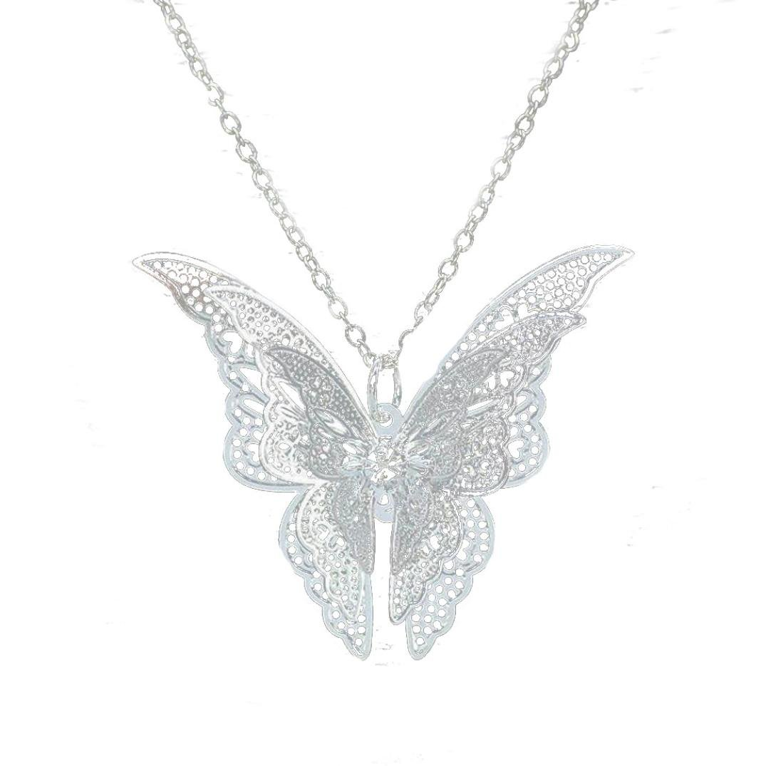 Balakie Silvery Stainless Steel Butterfly Pendant Chain Necklace Birthday Girls Gift New