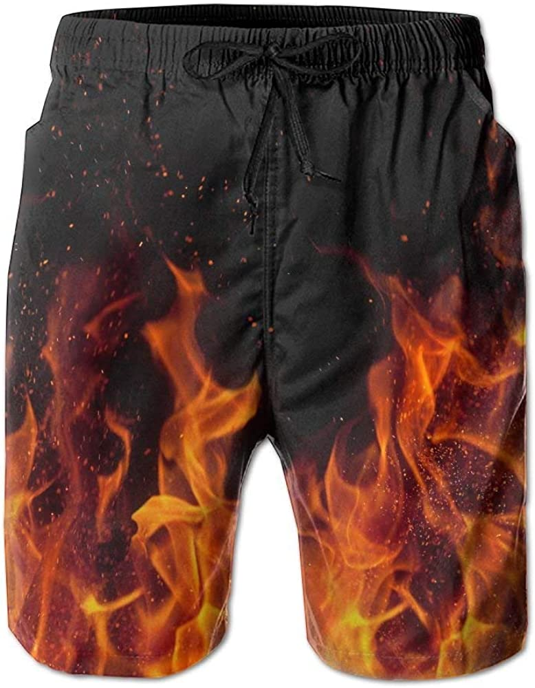CCGGJPYI Feimao Flame Printed Mens Quick Dry Beach Pants Boardshort Swim Short Trunks