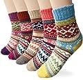 Loritta Women's 5 Pairs Vintage Style Winter Knitting Warm Wool Crew Socks, A-wave, Free size