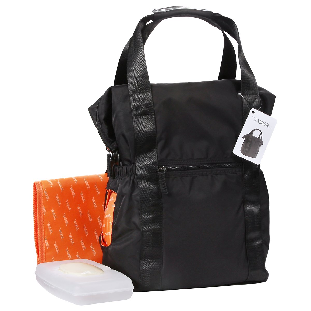 VASKER Baby Diaper Bag Backpack Nappy Bag Multifunction Water Resistant Organizer Travel Bag for Dad and Mom Stroller Straps Men Women Black Nylon