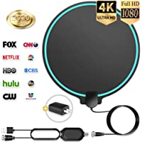 【Updated 2020】 HD Digital TV Antenna Long Range 150 Miles Indoor Amplified Signal Booster Support 4K 1080P UHF VHF FM Local Free Channels with Coax Cable and USB Power Adapter, Round Shape