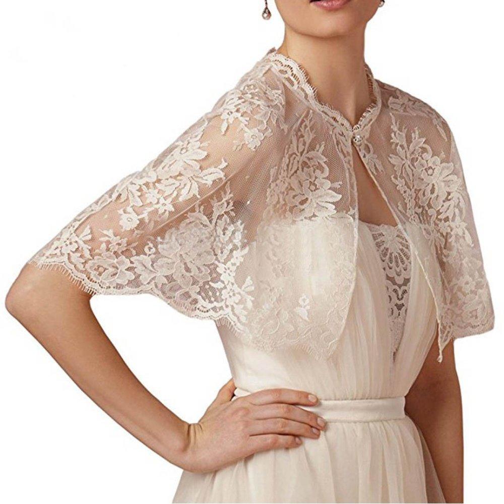 Topashe Women's Vintage Embroidered Lace Bridal Wrap Bolero Shrug Shawl Wedding Jacket