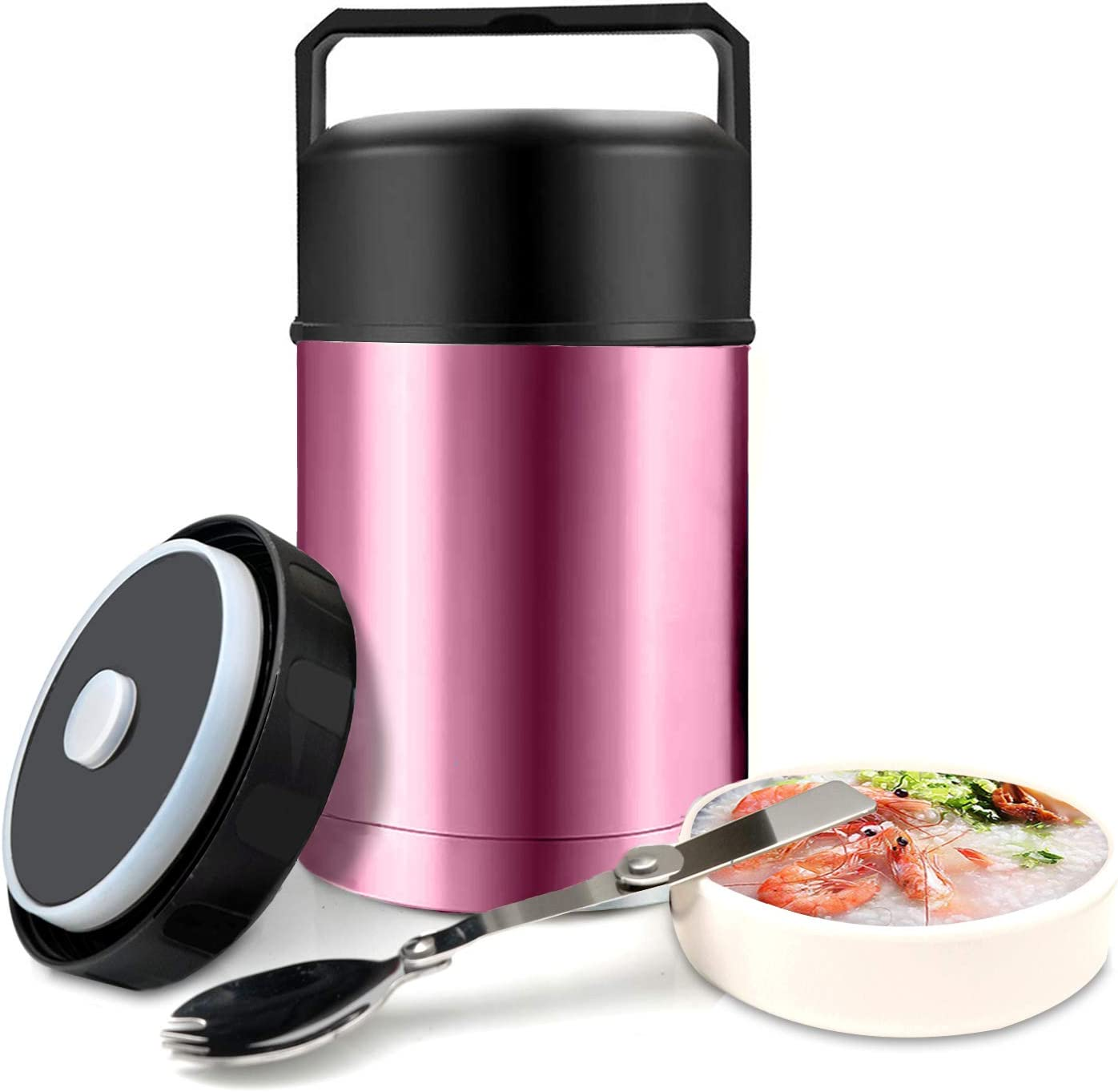 Food Jar Wide Mouth for Hot Food,304 Stainless Steel Leak Proof Double Wall Vacuum Insulated Soup Container with Handle Lid,27 oz BPA Free Thermos Lunch Box for Kids Adults (Pink)