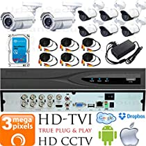 USG 3MP HD-TVI 8 Camera CCTV Kit : 6x 2.8mm Wide Angle + 2x 5-50mm Telephoto Bullet Cameras + 1x 8 Channel 3MP DVR + 1x 4TB HDD + 8x 100ft CCTV Cable + 2x 4 Channel Power Supply : Android Apple App