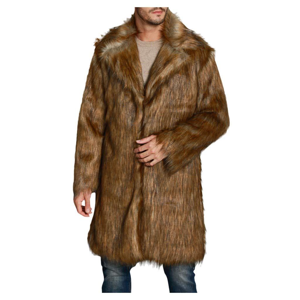 Vintress Men's Super Warm Thick Fake Faux Fur Coat Short Snow Outwears Jacket by Vintress
