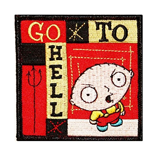 Family Guy Stewie Go To Hell Patch Fox Cartoon Embroidered Iron On Applique