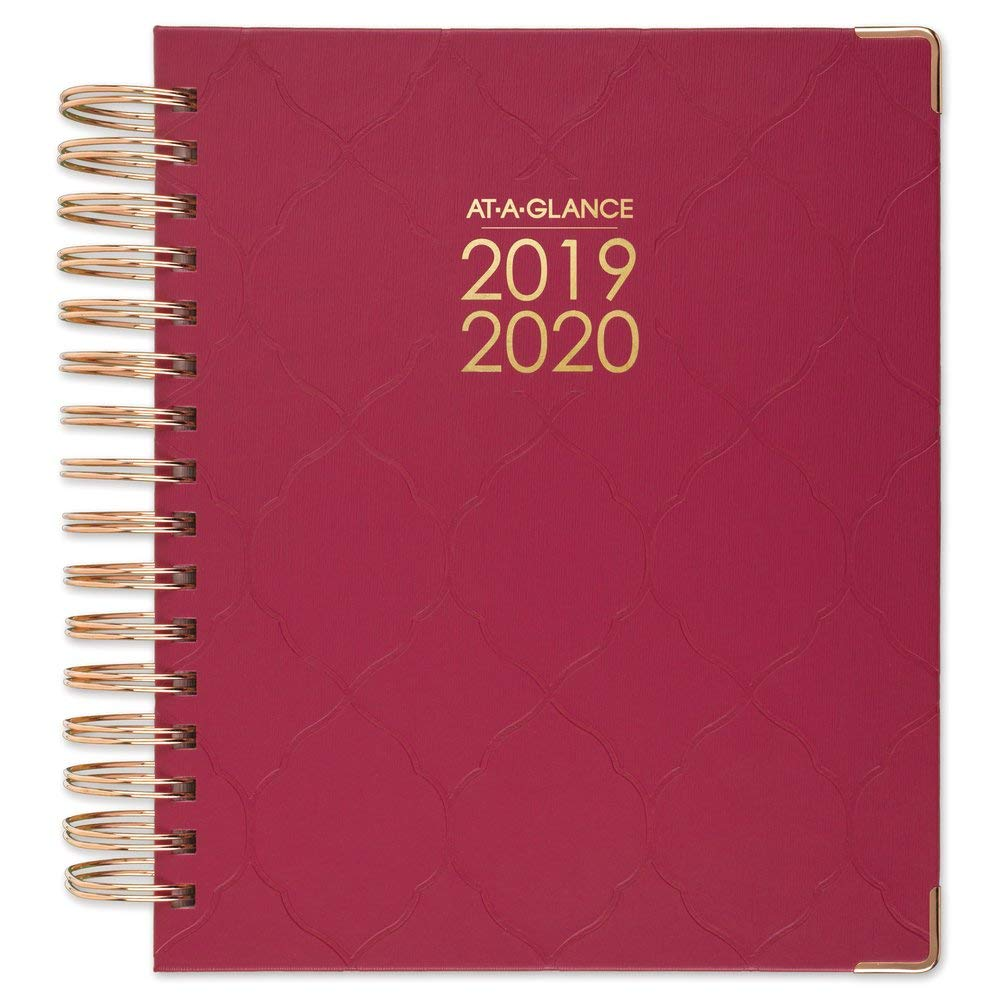 AT-A-GLANCE 2019-2020 Academic Year Daily & Monthly Planner, Medium, 7'' x 8-3/4'', Hardcover, Harmony, Raspberry Geo (6099-806A-56)