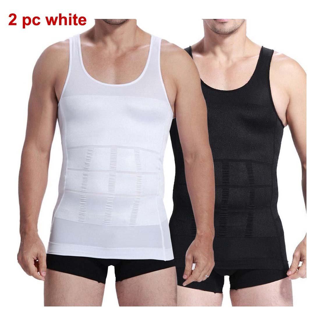 2pcs Mens Compression Slimming Body Shaper Undershirt 2 white or 2 black + Free Gift (L, white+white)