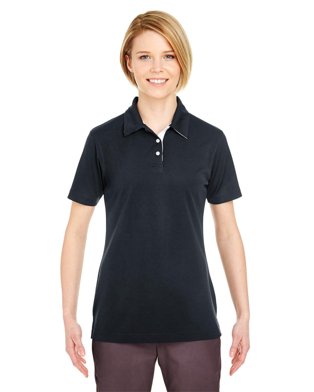 UltraClub Ladies Performance Birdseye Polo Shirt, Black, Medium. (Pack of 5)