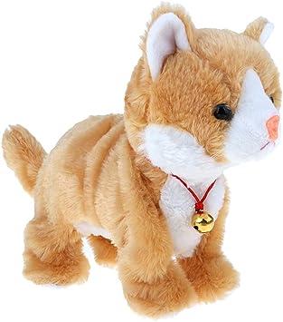 FLAMEER Juguete Eléctrico Peluche Gato Animal Cute Regalo de Cumpleaños para Niños - Marrón: Amazon.es: Juguetes y juegos