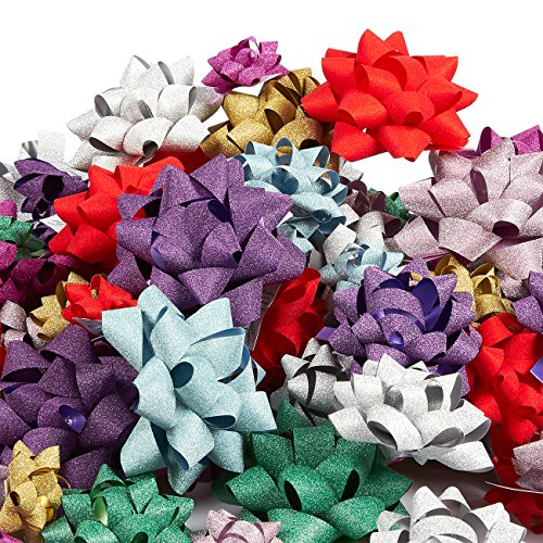 120-Count Gift Wrap Bows - Pull Bows, Gift Ribbons - Includes Large, Medium, Small Sizes, Peel and Stick, Assorted Glittering Colors (Some Pull Bow)