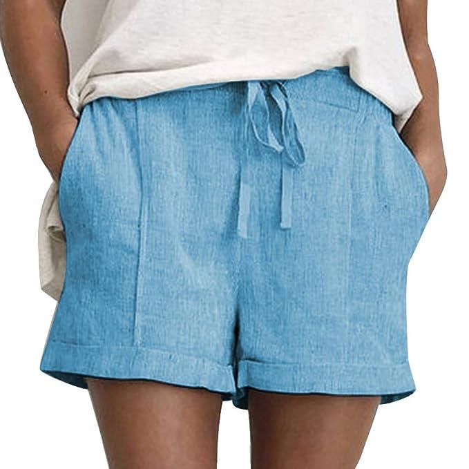 HucodeVan Pantalones Cortos Mujer,Verano Casual Pantalones ...