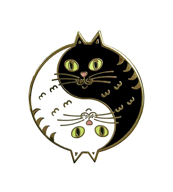 Balanced Co  Yin Yang Cat Enamel Pin: Amazon ca: Clothing
