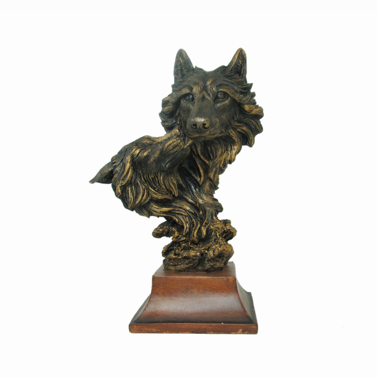 Bronzed Animal Collection Wolf and Baby Head Bust with Wooden Base Unison Gifts
