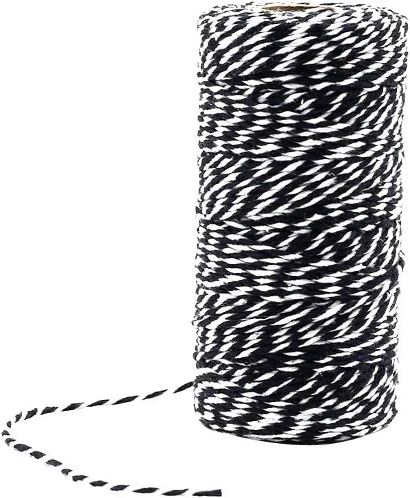 Black /& White Treely 2 Pcs Twine 2mm Thick 328 Feet Bakers Twine String for Crafts Gift Wrapping Tying Homemade Meat Decoration Bundling Packing