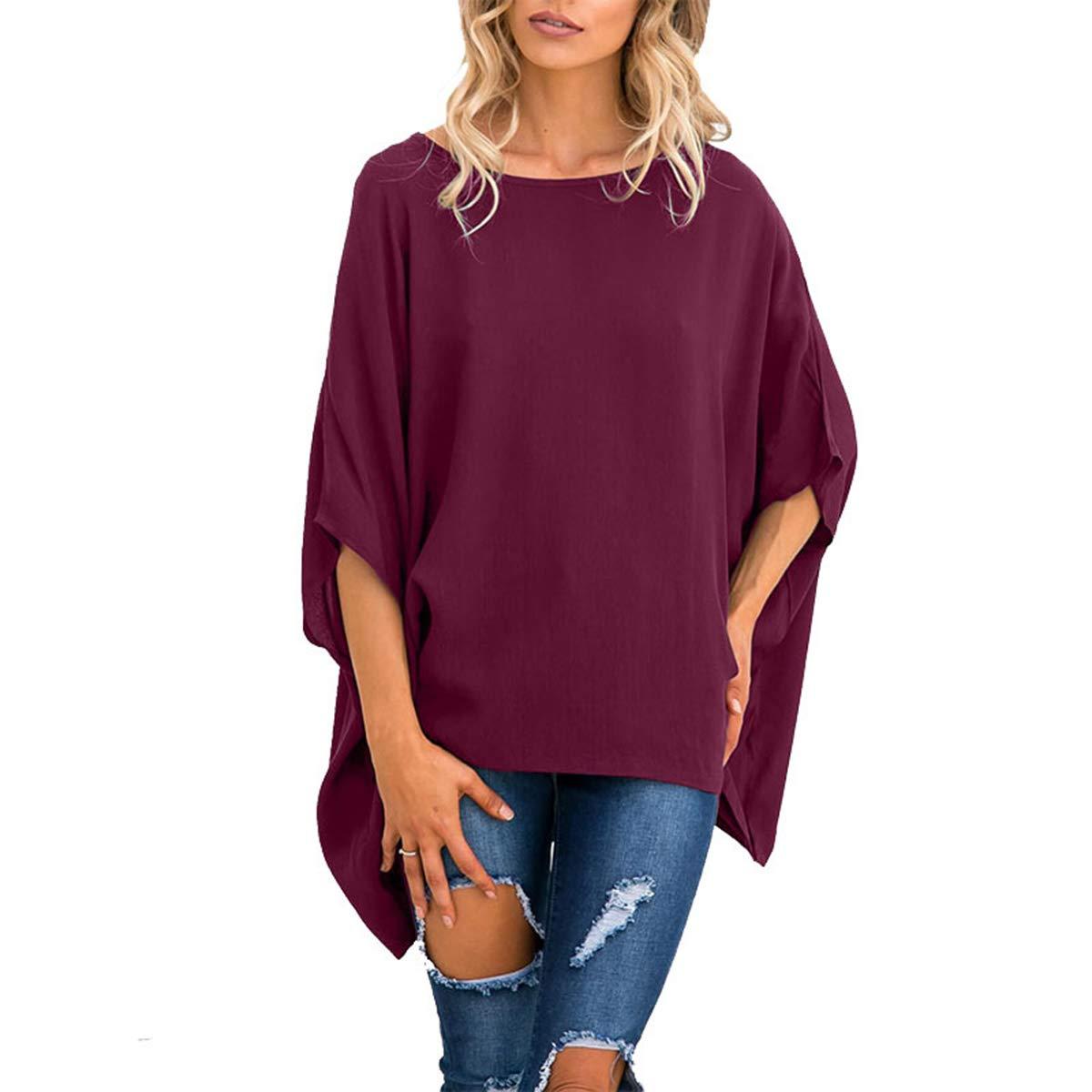 Deep red Flextiicinax Plus Size Solid Shirt Crew Neck Irregular Hem Long Sleeve Women's Maxi Blouse