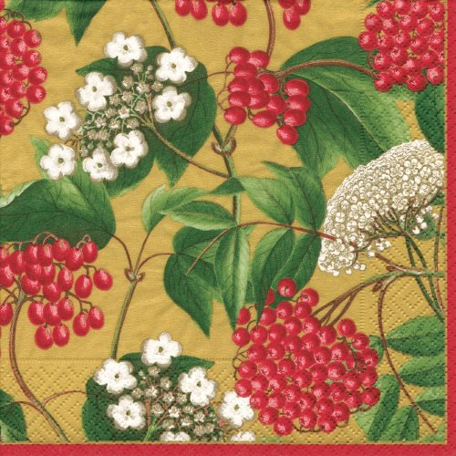 Chintz Gold (Entertaining with Caspari Luncheon Napkins, Berry Chintz Gold, Pack of 20)