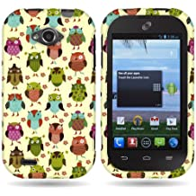 CoverON Hard Slim Design Case for ZTE Savvy - with Cover Removal Pry Tool - Fancy Owl