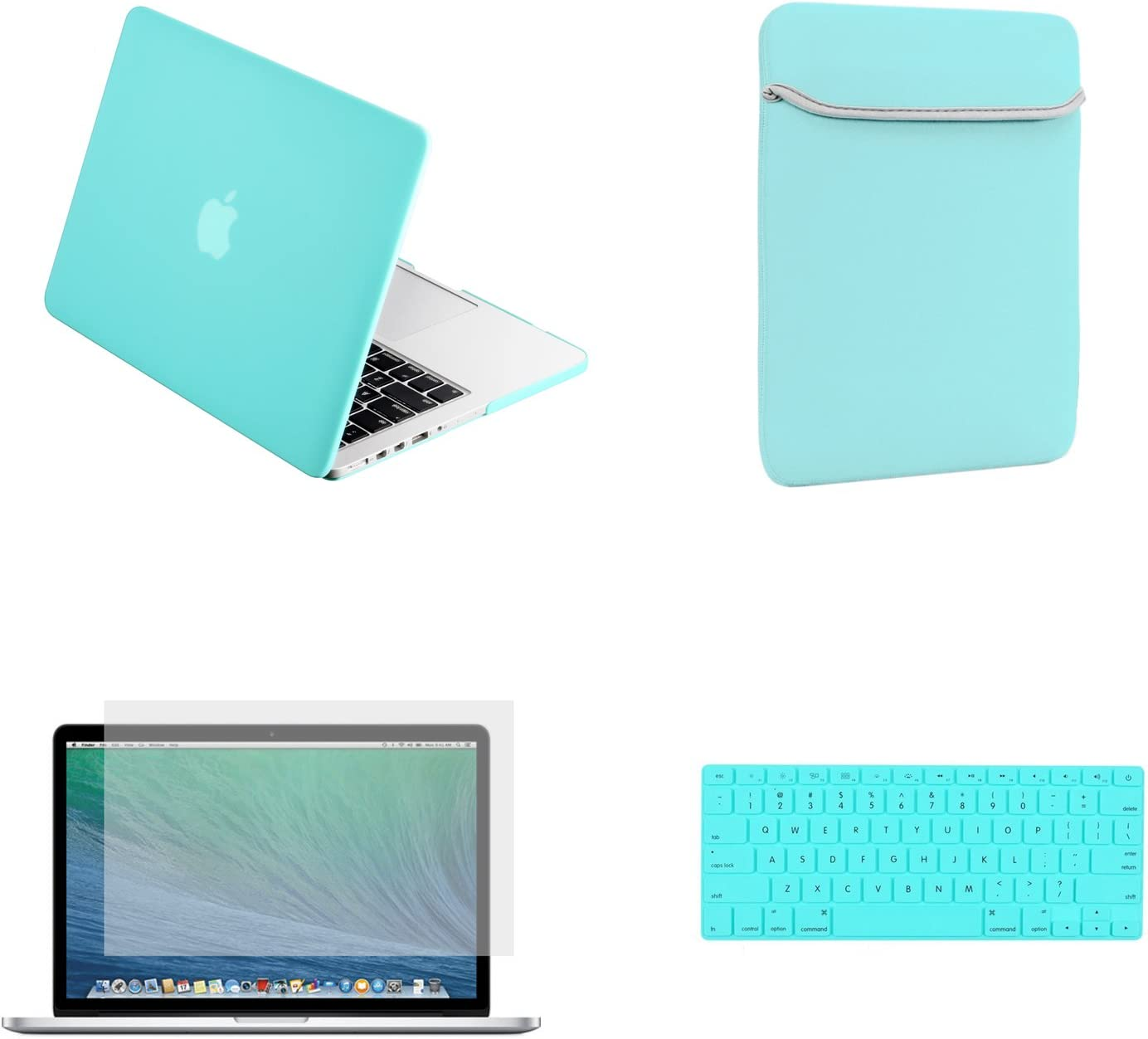 Unik Case-4 in 1 13 Inch Rubberized Hard Case,Screen Portector,Sleeve Bag /& Silicone Skin for Macbook 13 Air A1369//A1466 Shell Cover-Black