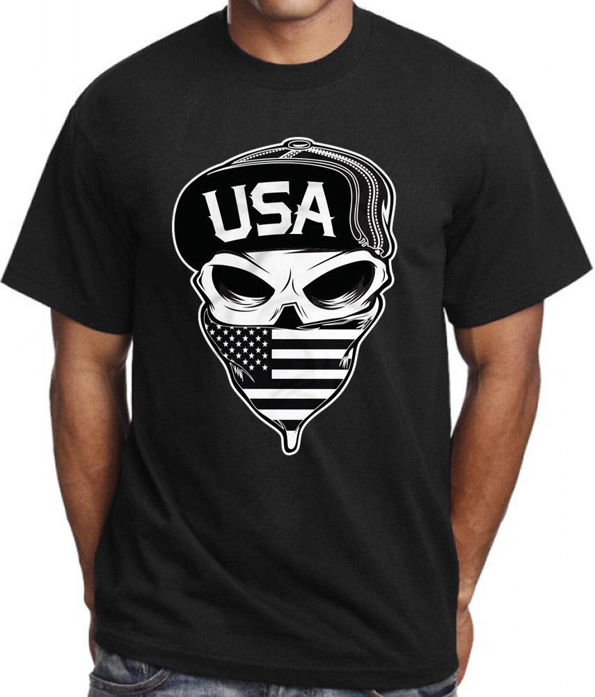 Usa Skull T Shirt American Flag Army Military Sniper Mask Bandit Tee