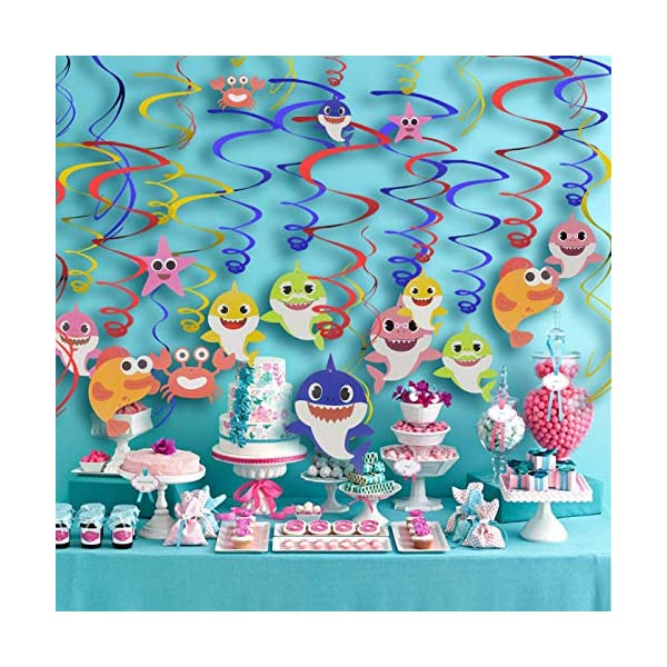 30pcs Sparkling Baby Shark Hanging Swirls Baby Birthday Party Decorations Tuoyi Baby Shark Party Supplies