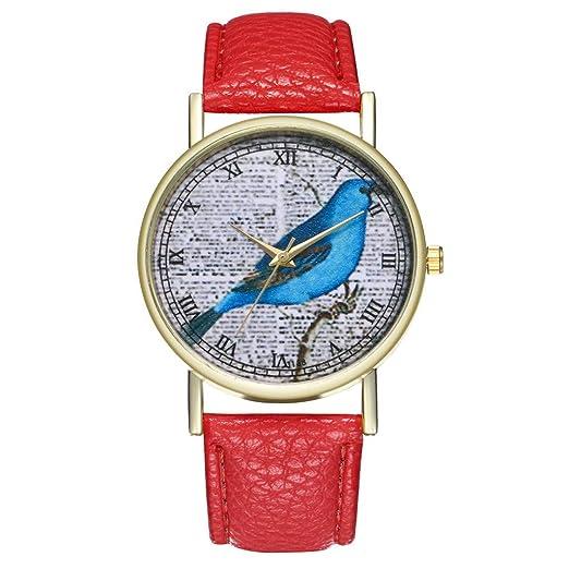 Reloj Temperamento Clásico Cuero Reloj De Cuarzo Señoras Hombres Y Mujeres Cuarzo Analógico Regalo Pájaro Patrón Creativo Watch: Amazon.es: Relojes
