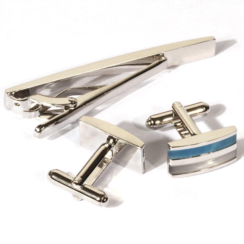 Rectangular Cats Eye Stone Cufflinks Platinum Plated Opal Men Tie Bar Clip and Cufflinks Set