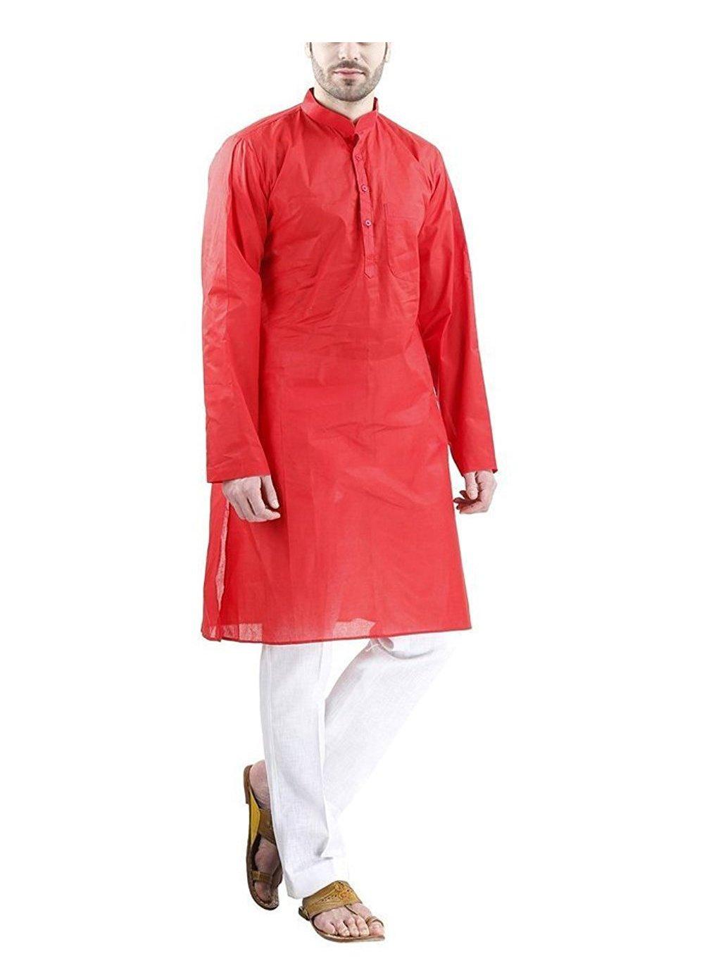 Royal Kurta Big Boy's Fine Cotton Kurta Pyjama Set For Occasion 42 Red