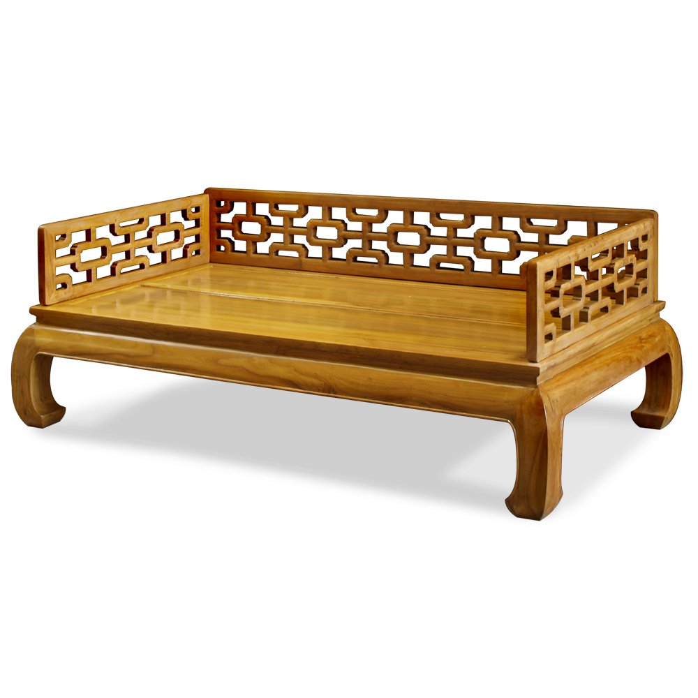 China Furniture Online Elmwood Day Bed, Ming Design with Open Carving Bed Natural Finish