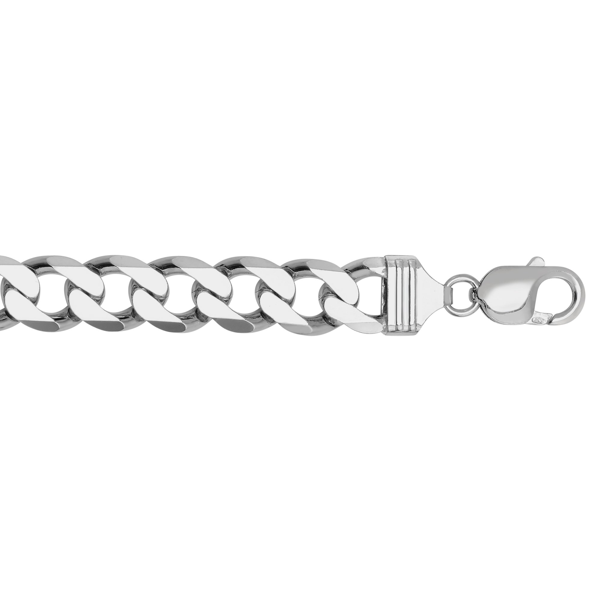 Sterling .925 Silver 9'' Rhodium Finish 12mm Diamond Cut Curb Italy Cuban Chain Bracelet Lobster Clasp