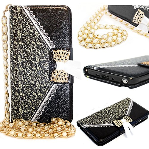 Splendid(TM) Galaxy S6 Edge Wallet Case, S6 Black Wallet Case Luxury Elegant Premium Black Floral Pattern Leather Lace Design Print Bow Lace Stand Up Case Card Wallet Purse Pouch Magnetic Flip Cover Case With Long Gold Pearl Chain With Credit Card Money Holder Slot With Built In Photo Frame Wallet Case Cover For Samsung S6 Edge (Lace Black S6E)