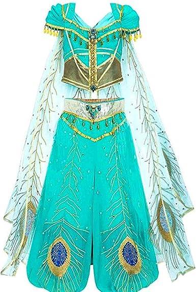 Anime Adult Aladdin Princess Jasmine Dress Cosplay New Costume Halloween Clothing