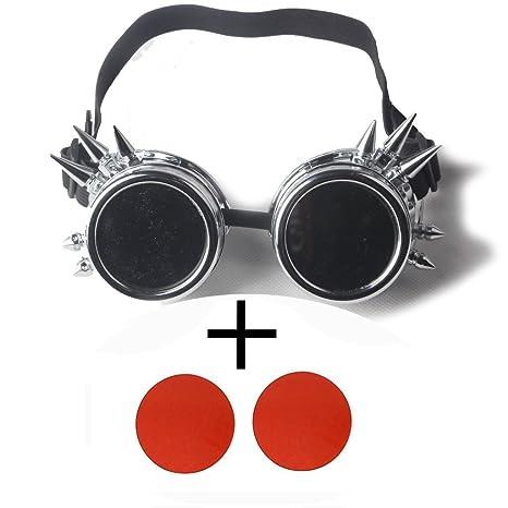 OMG _ tienda Vintage Victorian Steampunk gafas soldadura Cyber Punk gótico Cosplay marco plateado, rojo