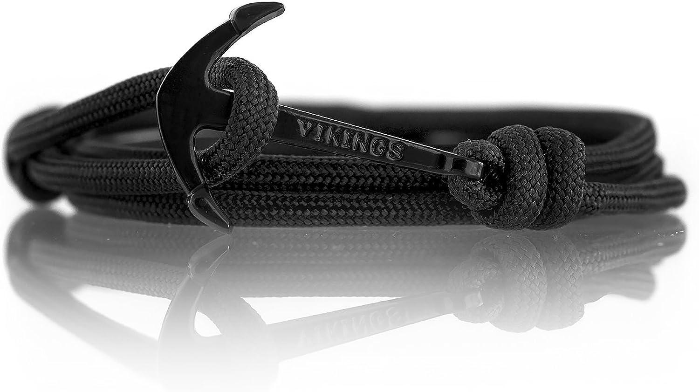 VIKINGS Lot de 2 bracelets de l/'amiti/é en nylon avec ancre en acier inoxydable Pour les couples