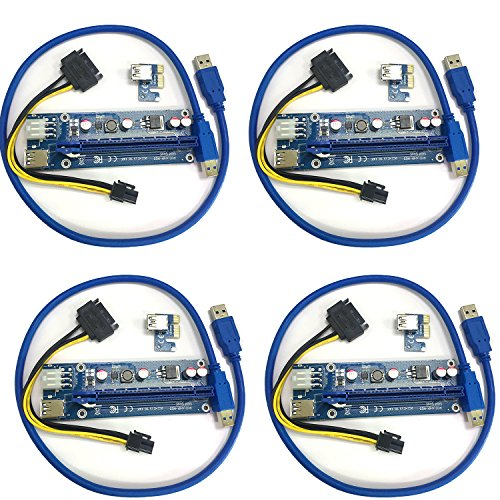 4 Pack - PCI-E 16x to 1x Power Riser Adapter Card With 6 Pin Power Connector GPU Riser Extender Cable and USB 3.0 Cable - Mining Dedicated Graphics Card Extension Cable (4 Pack) by MEITK