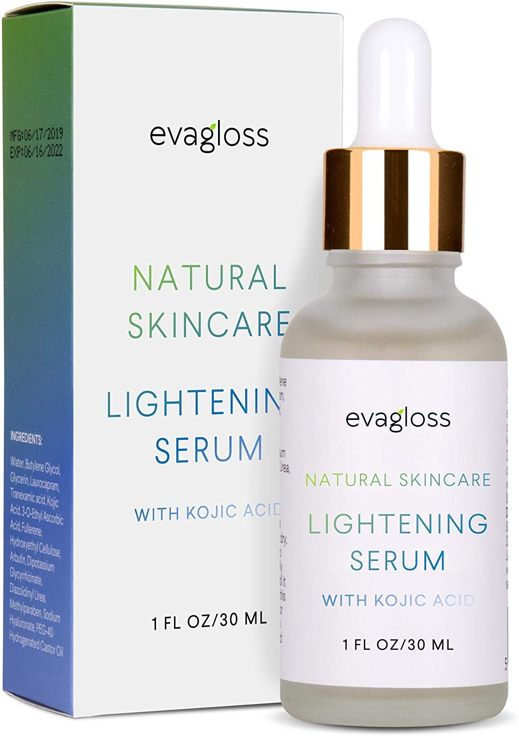 Evagloss Lightening Serum with Kojic Acid for Face  Body 30ml