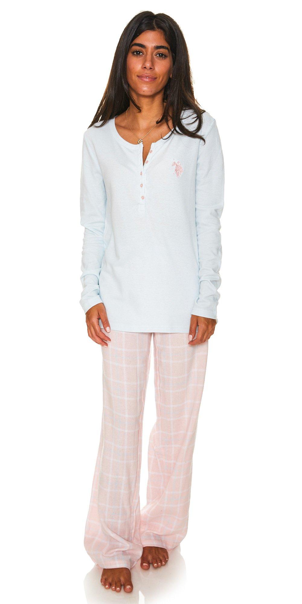 U.S. Polo Assn. Womens Thermal Top and Cotton Pants Flannel Pajamas Sleep Set Light Blue Large