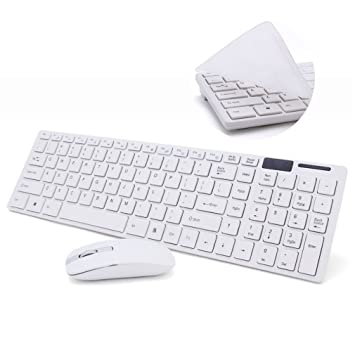 Aursen® Ratón blanco y teclado sin hilos Conjunto de ratón teclado sin hilos fijado para