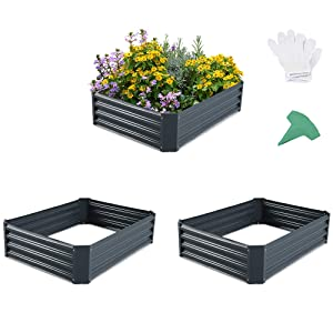 GROWNEER 3 Packs 48 Inches Dark Gray Metal Raised Garden Bed with 1 Pair of Gloves and 45 Pcs Plant Labels, Elevated Planter Box for Vegetables, Fruits, Flowers, Herbs