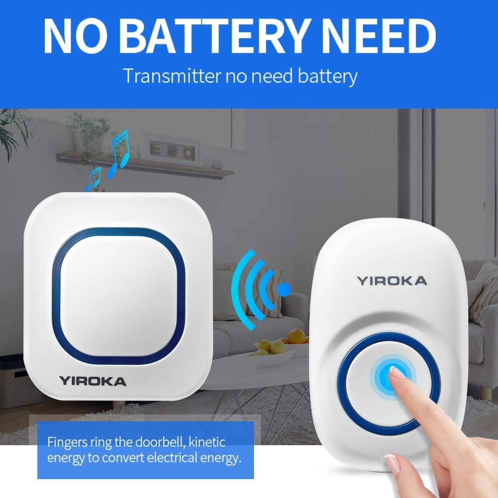 YIROKA Wireless Doorbell Operating range up to 500-feet,No Batteries Required,58pcs music for Chosen,4 Grade volume,1 Door Chime Sensor /& 2 Receivers 1 Self-powered Button + 2 Receiver YZ01-608-2