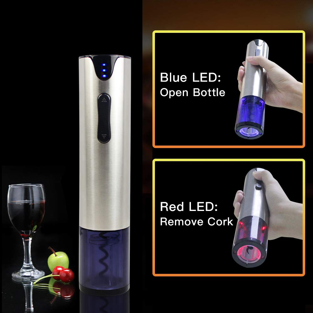 Electric Wine Opener with Foil Cutter Automatic Corkscrew and Foil Remover Stainless Steel One Touch Wine Bottle Opener Perfect Gift for Any Wine Lover (Stainless Steel Electric Wine Opener) by YonRui (Image #4)