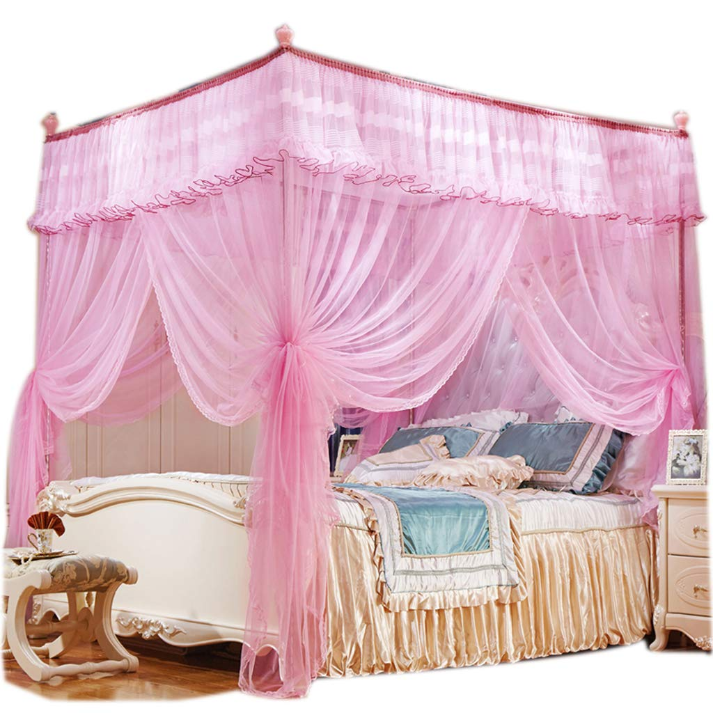 Obokidly 4 Corner Bed Mosquito Netting;Thinken Encryption Anti-mite America Village Bedding Curtains for Baby Girls Kids Bedroom Dectors Drapes Canopies (Pink, King) by Obokidly (Image #1)
