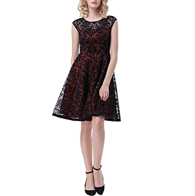 Trendy-Nicer Sexy Lace Party Sleeveless 50s Rockabilly Vestidos Pin up Robe Vintage Dresses,