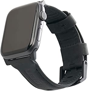 URBAN ARMOR GEAR UAG Compatible Apple Watch Band 44mm 42mm, iWatch Series 6/5/4/3/2/1 & Watch SE, Top Grain Italian Leather Replacement Strap, Leather Black