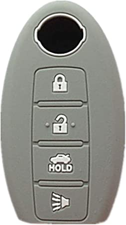 XUHANG Sillicone key fob Skin key Cover Remote Case Protector Shell for Nissan Teana Murano Maxima Pathfinder Rogue Versa 370Z Sentra Altima Smart Remote 4 Button Black