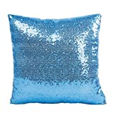 Womail Home Decorative Super Soft Throw Pillow Cover Sequins Cushion Case Used For Sofa And Bed (47 Sky Blue)