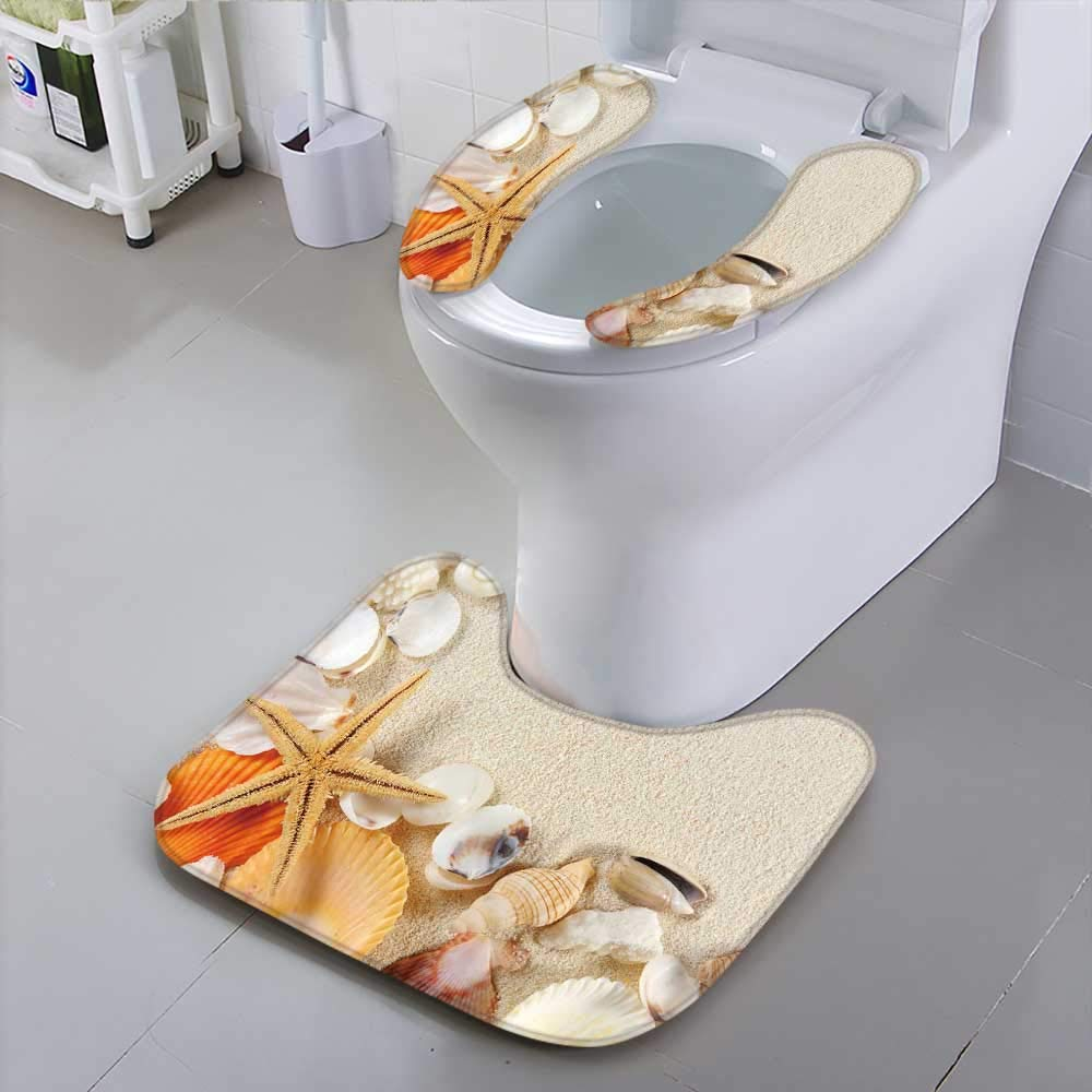 HuaWu-home Universal Toilet SeatGroup of Seashells starfishes on The Sand Safety and Hygiene