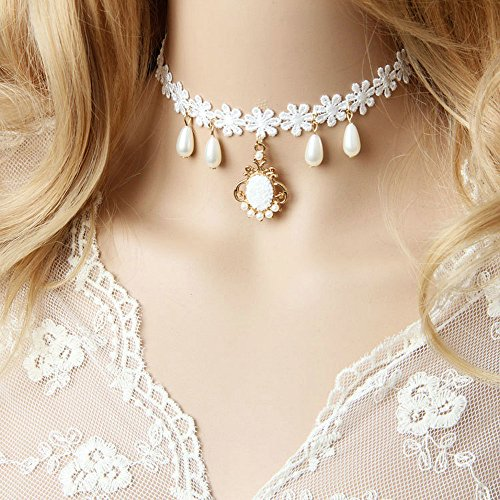 LEECO Elegant Pure Beautiful Bride Wedding Accessories Gothic Bridal Wedding White Lace Choker Necklace As Chirstmas Gift,White Lace Necklace with A Snowfake Pendant